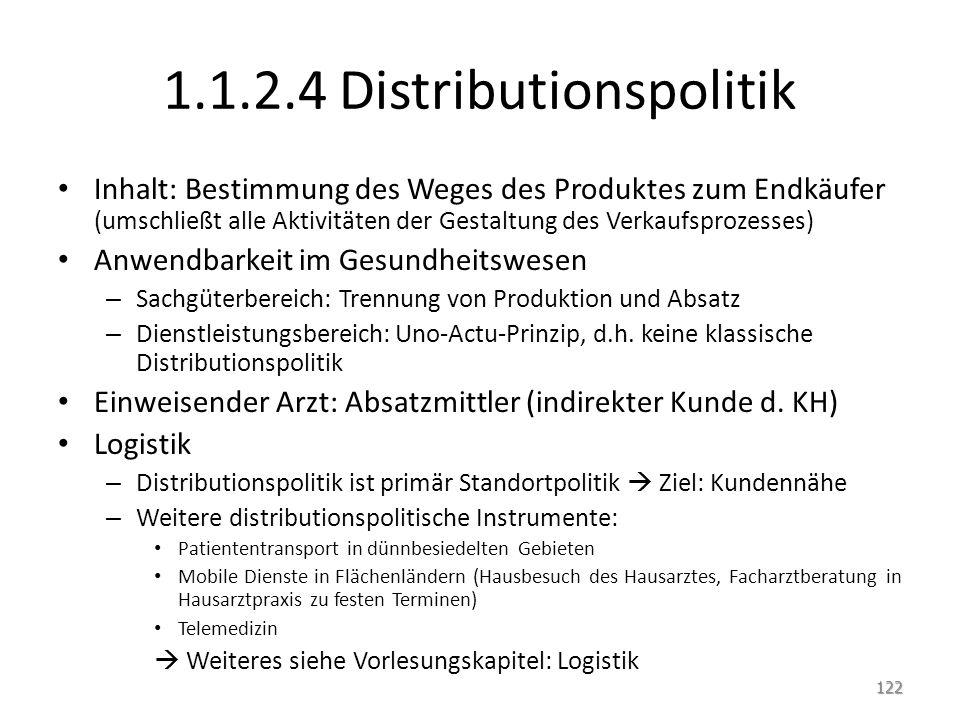 1.1.2.4 Distributionspolitik Inhalt: Bestimmung des Weges des Produktes zum Endkäufer (umschließt alle Aktivitäten der Gestaltung des Verkaufsprozesse