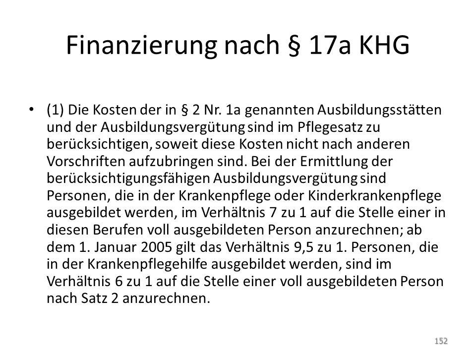 Finanzierung nach § 17a KHG (1) Die Kosten der in § 2 Nr. 1a genannten Ausbildungsstätten und der Ausbildungsvergütung sind im Pflegesatz zu berücksic