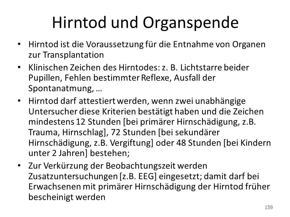 Hirntod und Organspende Hirntod ist die Voraussetzung für die Entnahme von Organen zur Transplantation Klinischen Zeichen des Hirntodes: z. B. Lichtst