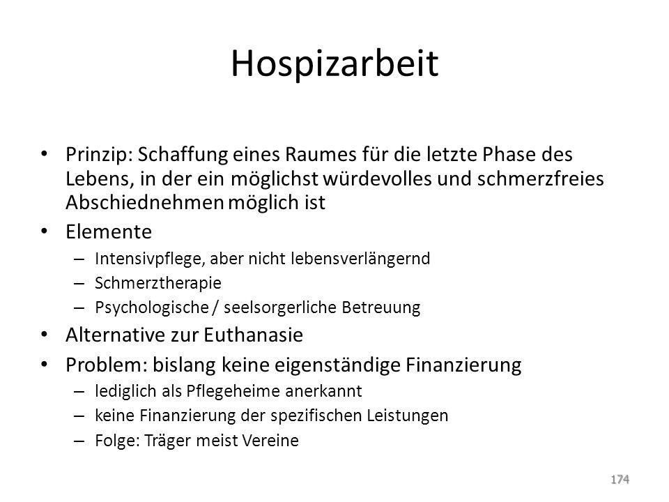 Hospizarbeit Prinzip: Schaffung eines Raumes für die letzte Phase des Lebens, in der ein möglichst würdevolles und schmerzfreies Abschiednehmen möglic