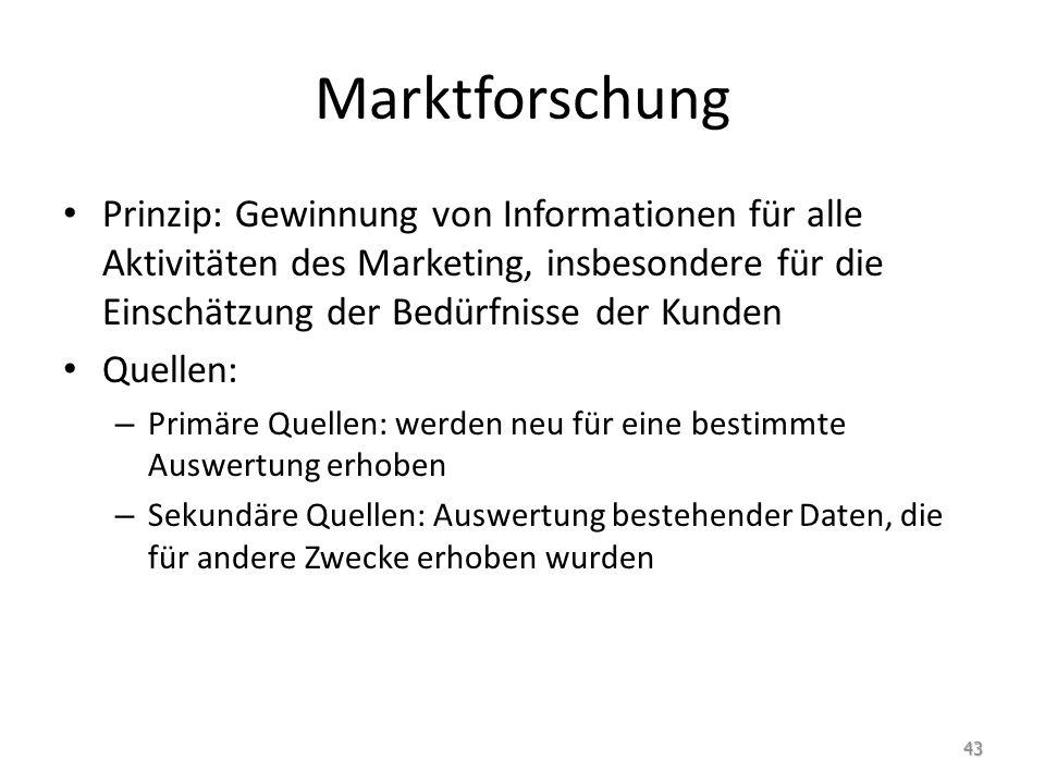 Marktforschung Prinzip: Gewinnung von Informationen für alle Aktivitäten des Marketing, insbesondere für die Einschätzung der Bedürfnisse der Kunden Q