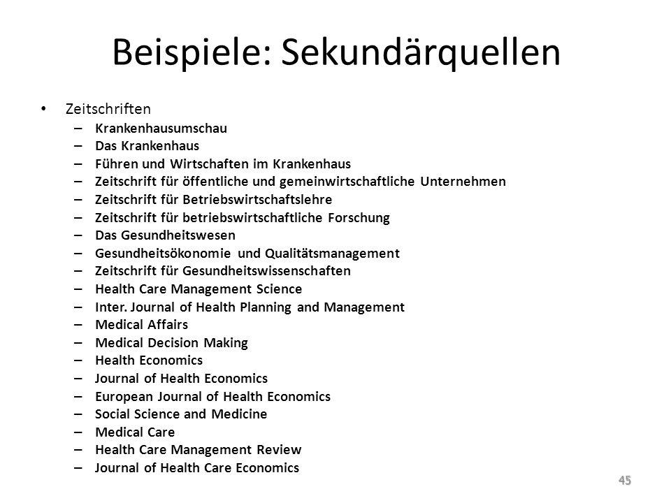 Beispiele: Sekundärquellen Zeitschriften – Krankenhausumschau – Das Krankenhaus – Führen und Wirtschaften im Krankenhaus – Zeitschrift für öffentliche