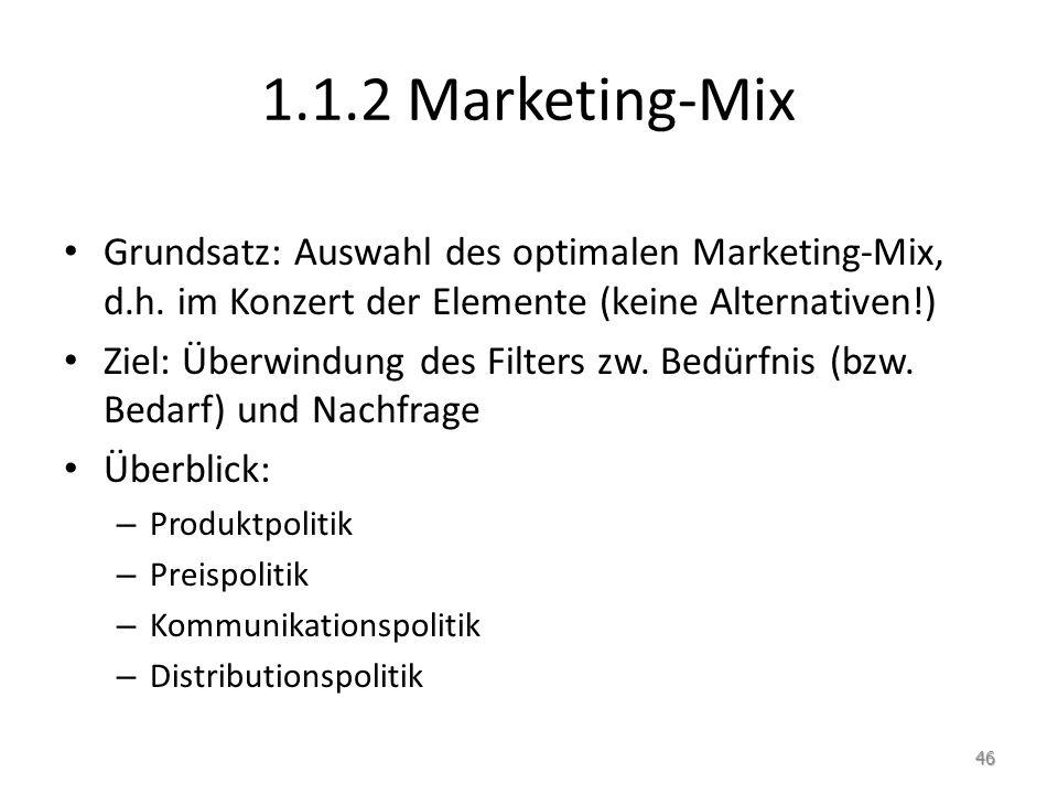 1.1.2 Marketing-Mix Grundsatz: Auswahl des optimalen Marketing-Mix, d.h. im Konzert der Elemente (keine Alternativen!) Ziel: Überwindung des Filters z