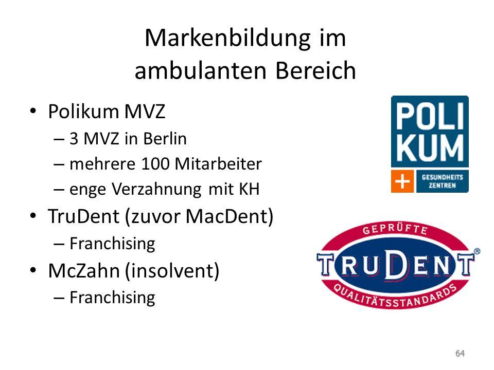 Markenbildung im ambulanten Bereich Polikum MVZ – 3 MVZ in Berlin – mehrere 100 Mitarbeiter – enge Verzahnung mit KH TruDent (zuvor MacDent) – Franchi