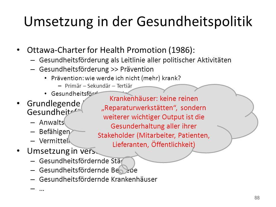 Umsetzung in der Gesundheitspolitik Ottawa-Charter for Health Promotion (1986): – Gesundheitsförderung als Leitlinie aller politischer Aktivitäten – G