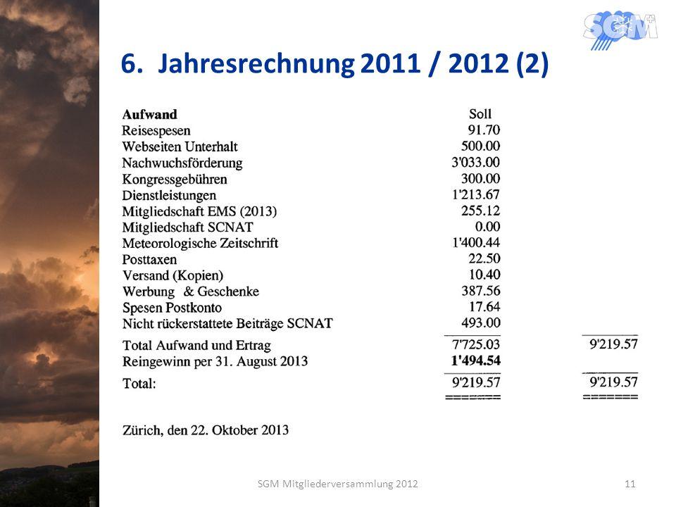 6.Jahresrechnung 2011 / 2012 (2) SGM Mitgliederversammlung 201211
