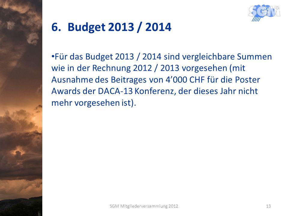 6.Budget 2013 / 2014 Für das Budget 2013 / 2014 sind vergleichbare Summen wie in der Rechnung 2012 / 2013 vorgesehen (mit Ausnahme des Beitrages von 4000 CHF für die Poster Awards der DACA-13 Konferenz, der dieses Jahr nicht mehr vorgesehen ist).