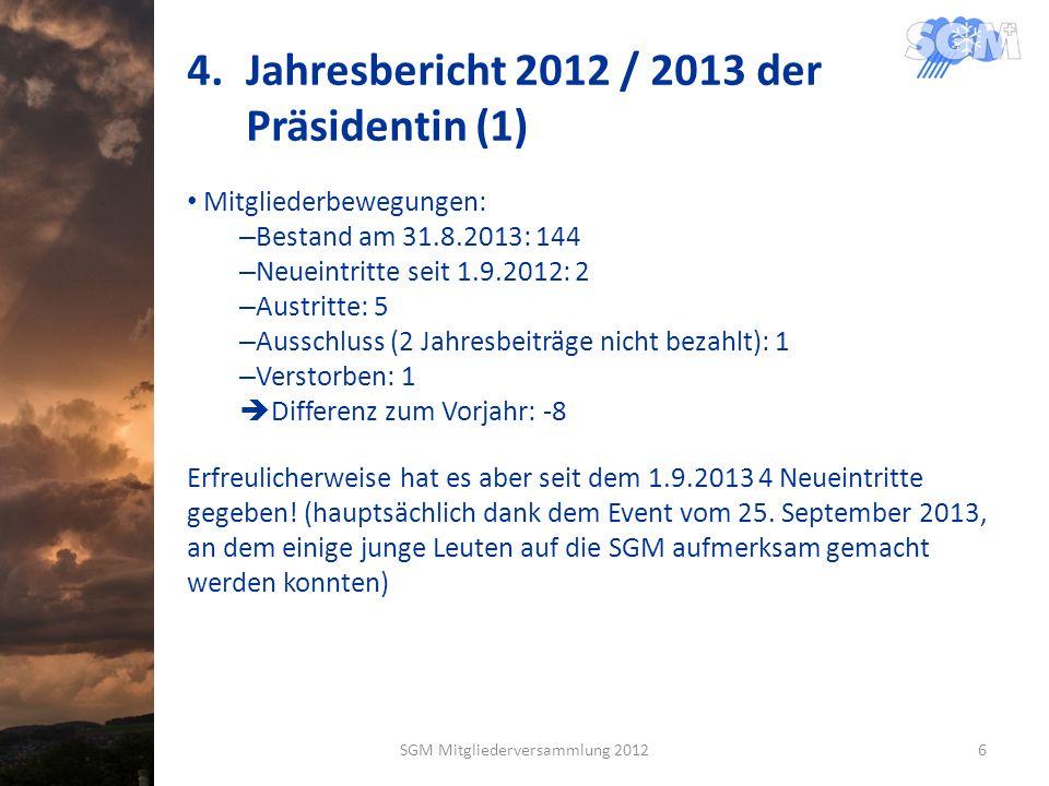 4.Jahresbericht 2012 / 2013 der Präsidentin (1) Mitgliederbewegungen: – Bestand am 31.8.2013: 144 – Neueintritte seit 1.9.2012: 2 – Austritte: 5 – Ausschluss (2 Jahresbeiträge nicht bezahlt): 1 – Verstorben: 1 Differenz zum Vorjahr: -8 Erfreulicherweise hat es aber seit dem 1.9.2013 4 Neueintritte gegeben.