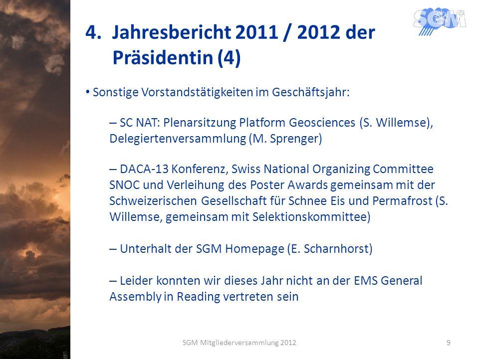 4.Jahresbericht 2011 / 2012 der Präsidentin (4) Sonstige Vorstandstätigkeiten im Geschäftsjahr: – SC NAT: Plenarsitzung Platform Geosciences (S. Wille