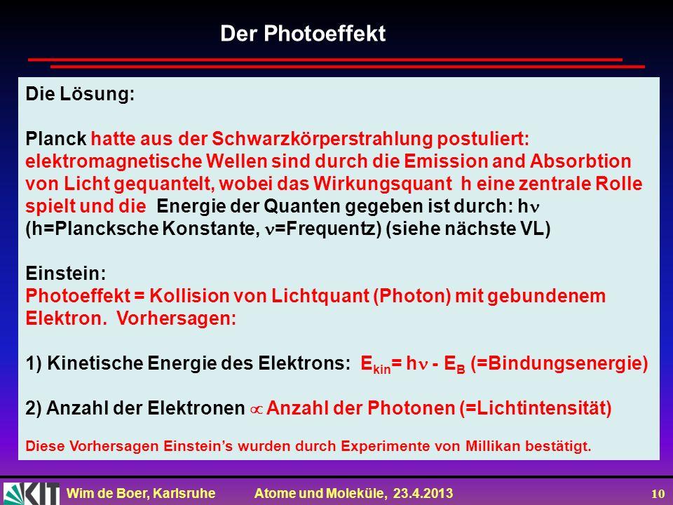 Wim de Boer, Karlsruhe Atome und Moleküle, 23.4.2013 10 Die Lösung: Planck hatte aus der Schwarzkörperstrahlung postuliert: elektromagnetische Wellen
