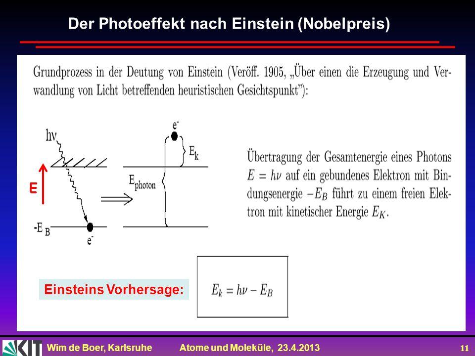Wim de Boer, Karlsruhe Atome und Moleküle, 23.4.2013 11 Der Photoeffekt nach Einstein (Nobelpreis) Einsteins Vorhersage: E