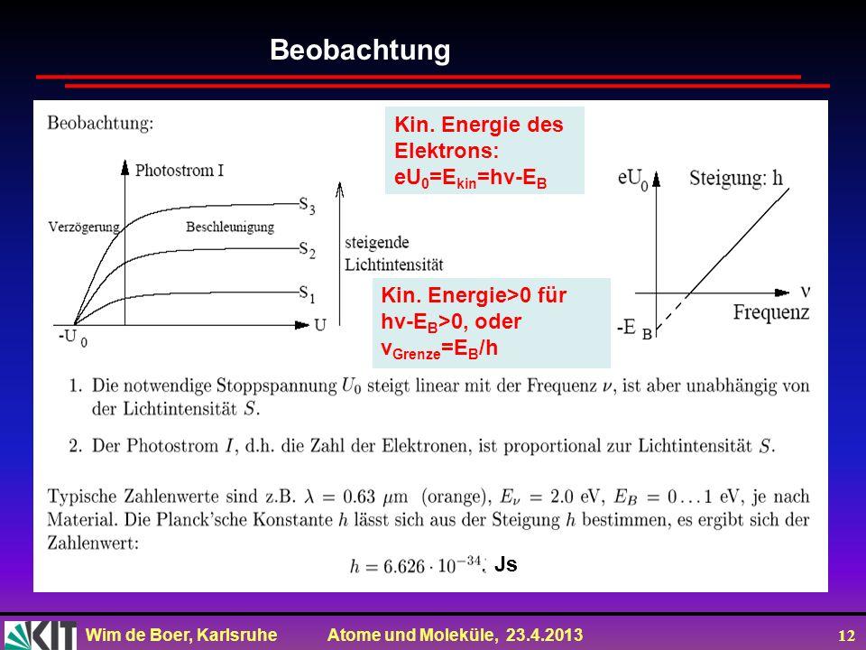 Wim de Boer, Karlsruhe Atome und Moleküle, 23.4.2013 12 Beobachtung Kin. Energie des Elektrons: eU 0 =E kin =hv-E B Kin. Energie>0 für hv-E B >0, oder