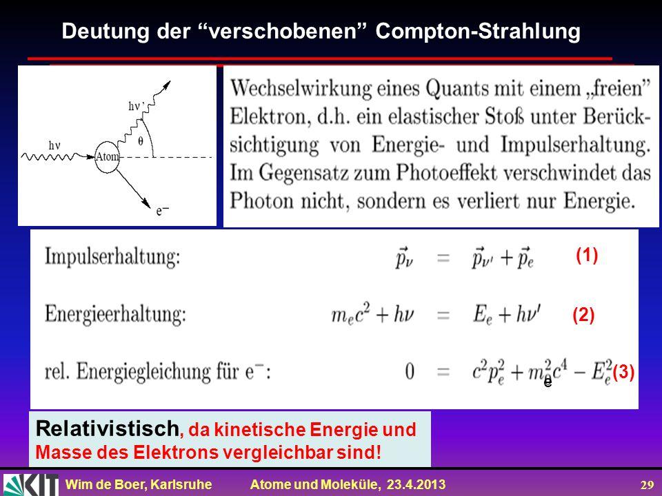 Wim de Boer, Karlsruhe Atome und Moleküle, 23.4.2013 29 Deutung der verschobenen Compton-Strahlung Relativistisch, da kinetische Energie und Masse des