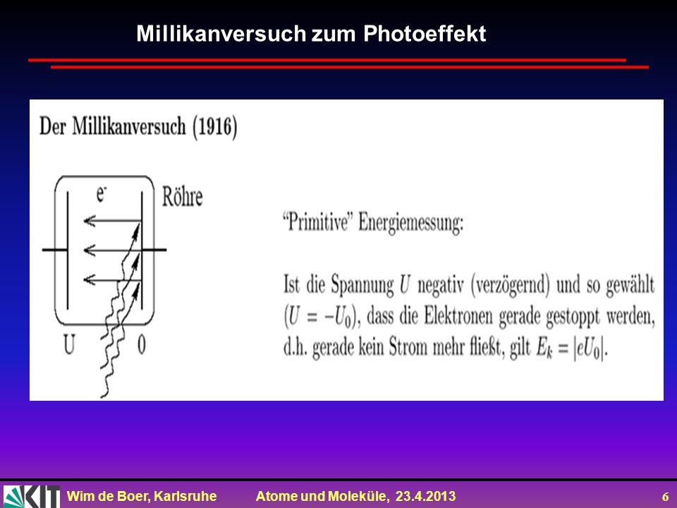 Wim de Boer, Karlsruhe Atome und Moleküle, 23.4.2013 6 Millikanversuch zum Photoeffekt