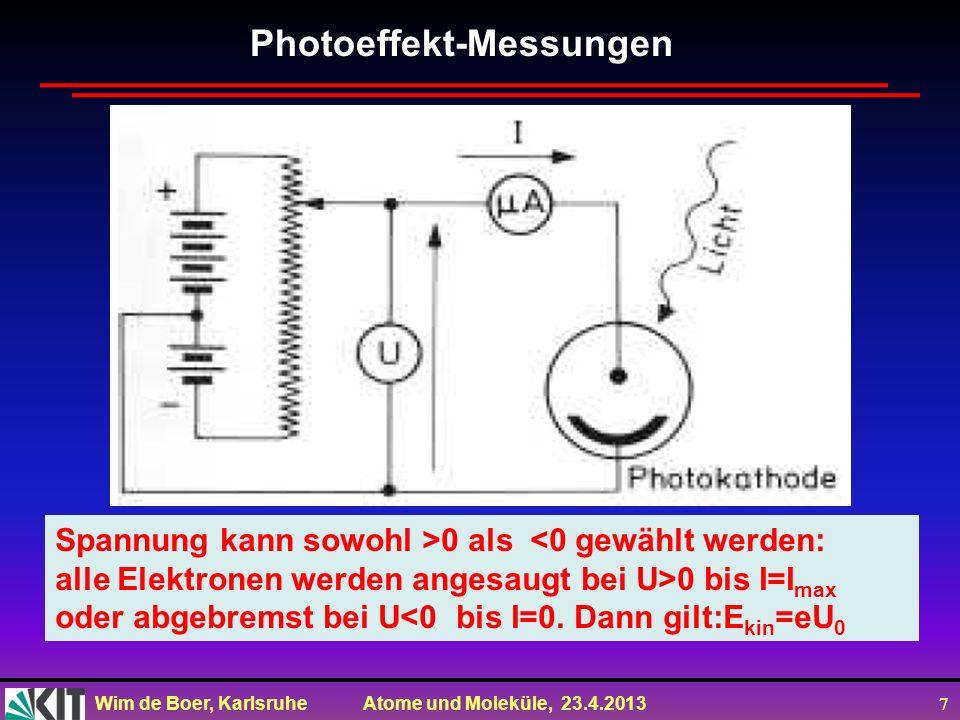 Wim de Boer, Karlsruhe Atome und Moleküle, 23.4.2013 7 Spannung kann sowohl >0 als <0 gewählt werden: alle Elektronen werden angesaugt bei U>0 bis I=I