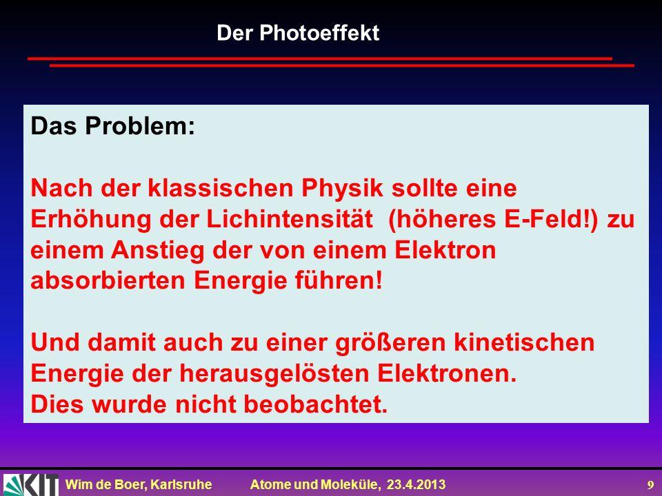 Wim de Boer, Karlsruhe Atome und Moleküle, 23.4.2013 9 Das Problem: Nach der klassischen Physik sollte eine Erhöhung der Lichintensität (höheres E-Fel
