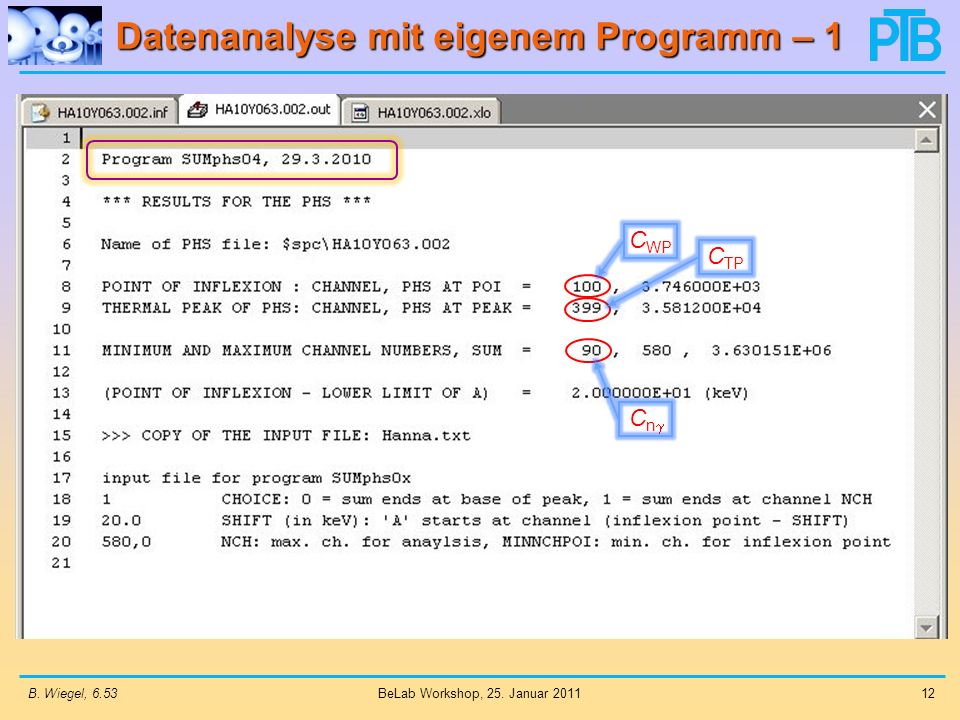 Datenanalyse mit eigenem Programm – 1 B. Wiegel, 6.5312 BeLab Workshop, 25. Januar 2011 C WP C TP C n