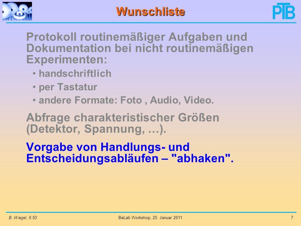 B. Wiegel, 6.537 BeLab Workshop, 25. Januar 2011 Wunschliste Protokoll routinemäßiger Aufgaben und Dokumentation bei nicht routinemäßigen Experimenten
