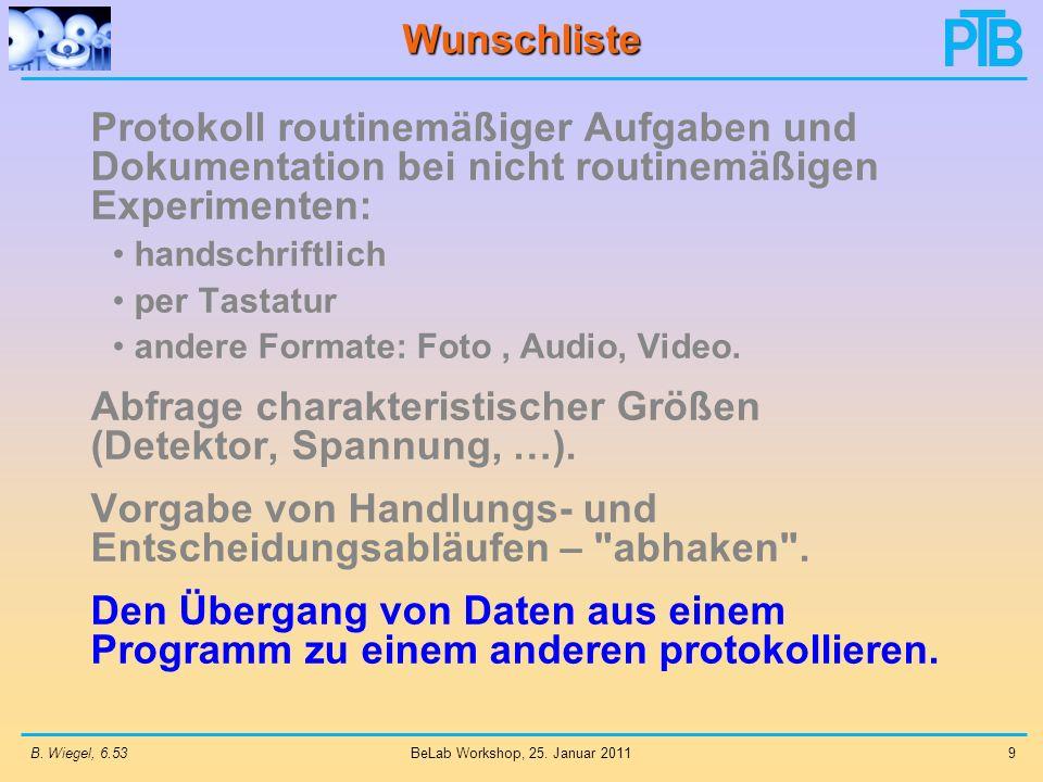 B. Wiegel, 6.539 BeLab Workshop, 25. Januar 2011 Wunschliste Protokoll routinemäßiger Aufgaben und Dokumentation bei nicht routinemäßigen Experimenten