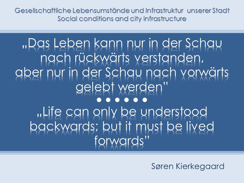 Gesellschaftliche Lebensumstände und Infrastruktur unserer Stadt Social conditions and city infrastructure Søren Kierkegaard
