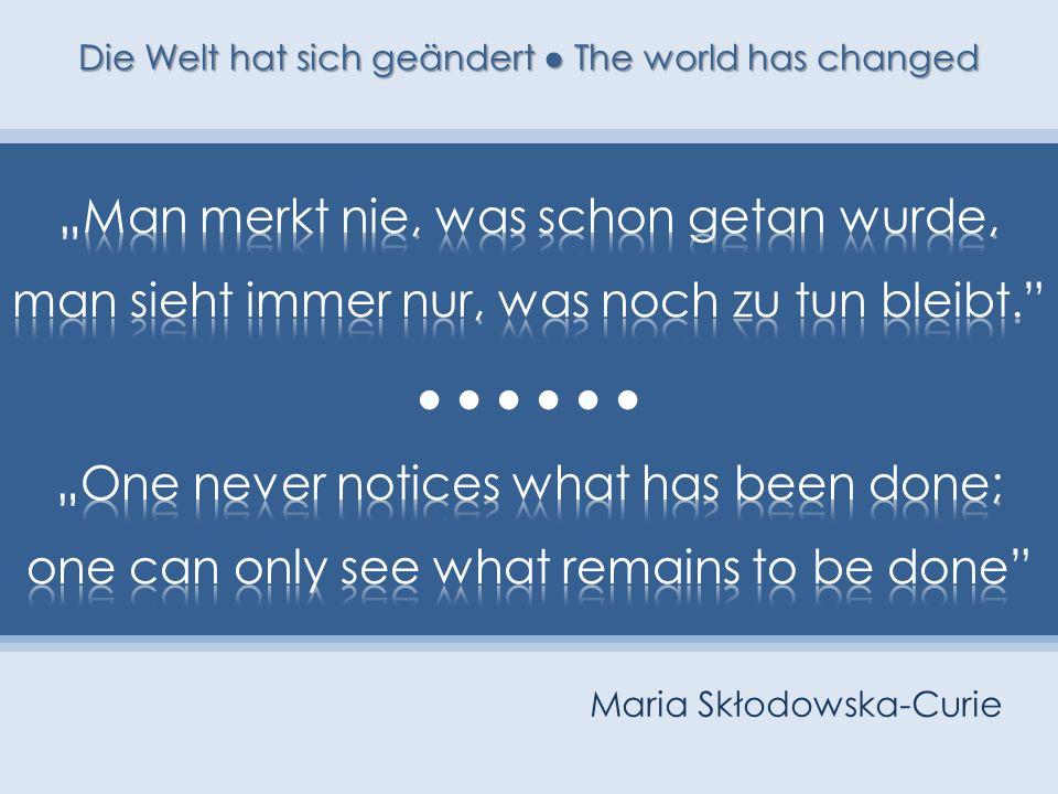 Maria Skłodowska-Curie Die Welt hat sich geändert The world has changed