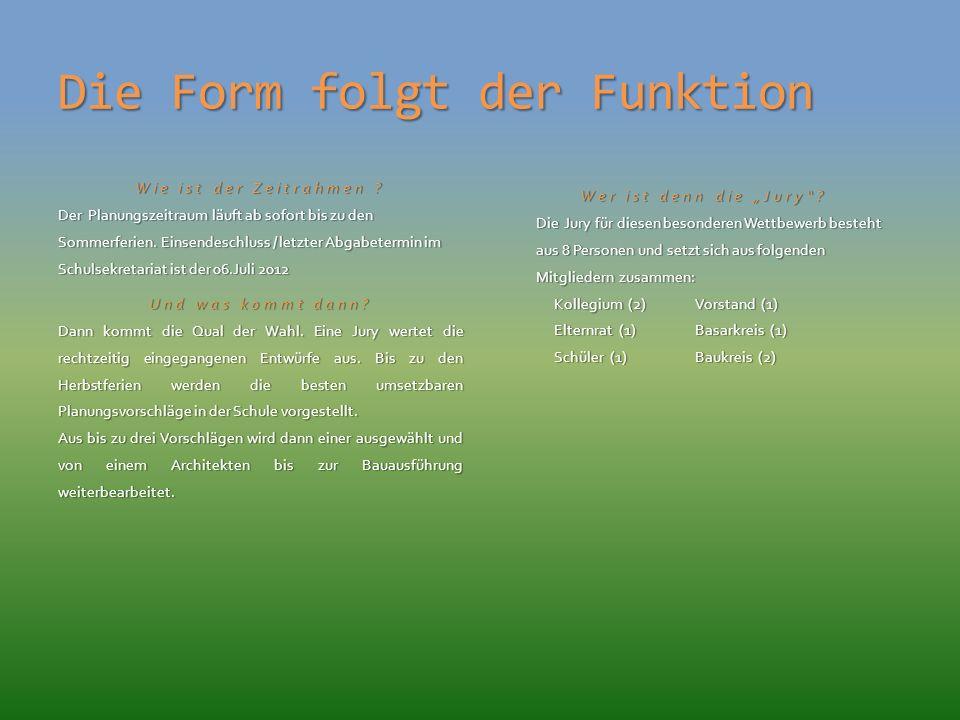 Die Form folgt der Funktion Wie ist der Zeitrahmen .