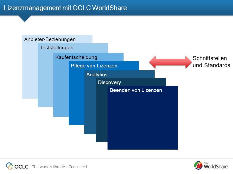 The worlds libraries. Connected. Anbieter-Beziehungen Teststellungen Kaufentscheidung Pflege von Lizenzen Analytics Schnittstellen und Standards Disco