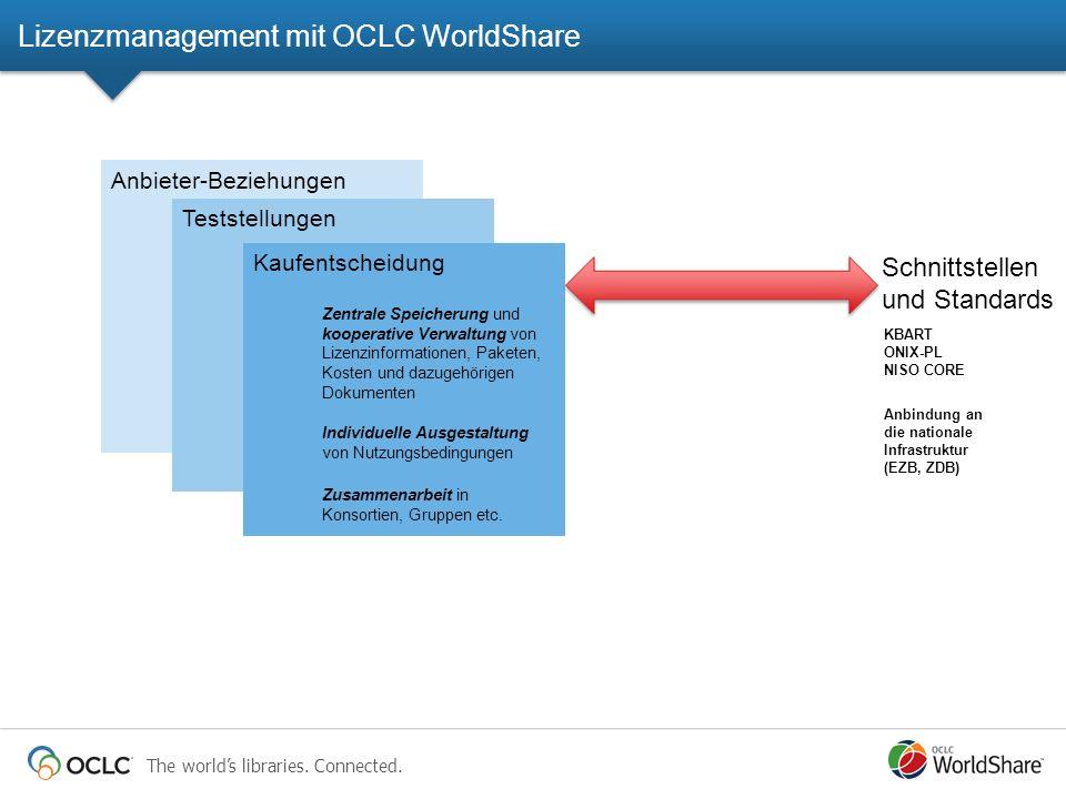 The worlds libraries. Connected. Anbieter-Beziehungen Teststellungen Kaufentscheidung Zentrale Speicherung und kooperative Verwaltung von Lizenzinform