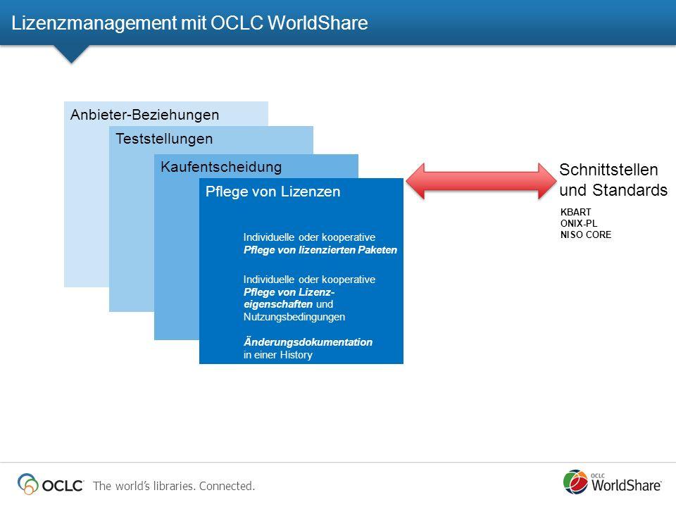 The worlds libraries. Connected. Anbieter-Beziehungen Teststellungen Kaufentscheidung Pflege von Lizenzen Individuelle oder kooperative Pflege von liz