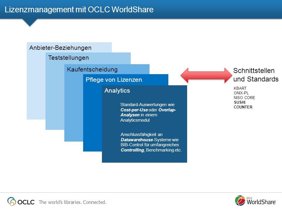 The worlds libraries. Connected. Anbieter-Beziehungen Teststellungen Kaufentscheidung Pflege von Lizenzen Analytics Standard-Auswertungen wie Cost-per