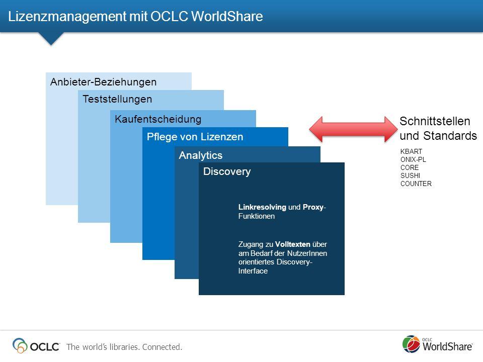 The worlds libraries. Connected. Anbieter-Beziehungen Teststellungen Kaufentscheidung Pflege von Lizenzen Analytics Discovery Linkresolving und Proxy-