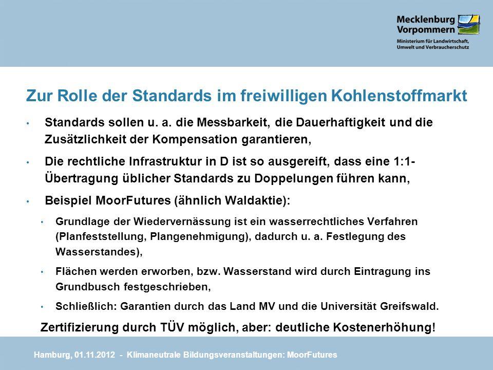 Zur Rolle der Standards im freiwilligen Kohlenstoffmarkt Standards sollen u. a. die Messbarkeit, die Dauerhaftigkeit und die Zusätzlichkeit der Kompen