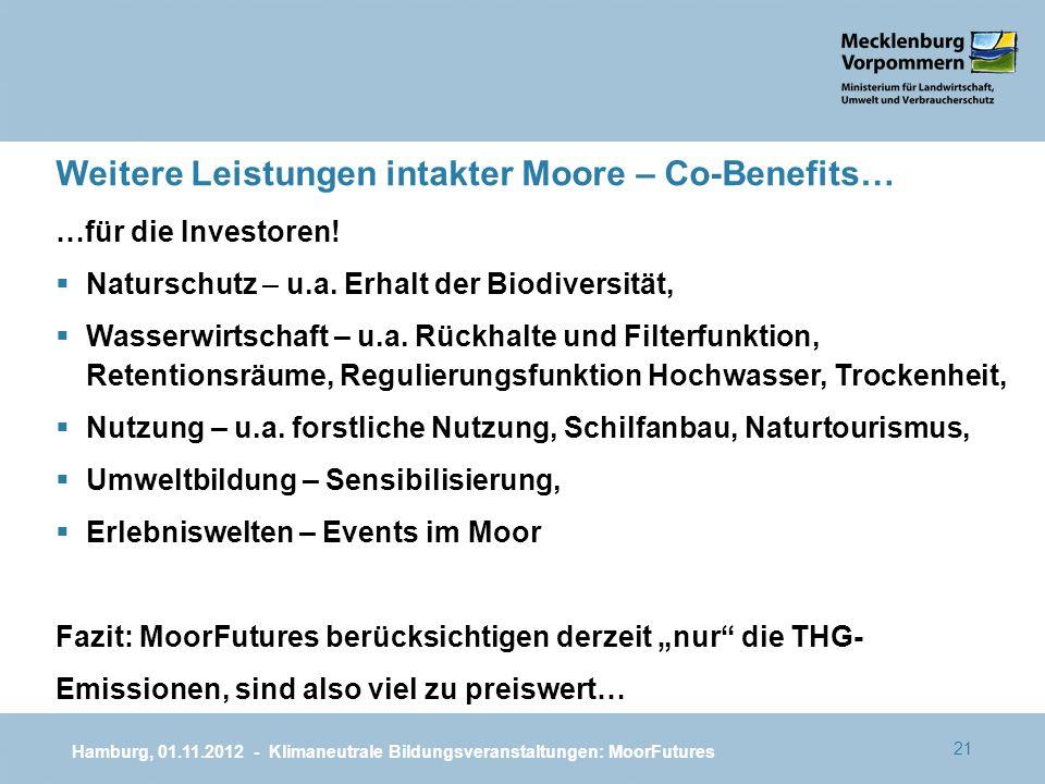 21 …für die Investoren! Naturschutz – u.a. Erhalt der Biodiversität, Wasserwirtschaft – u.a. Rückhalte und Filterfunktion, Retentionsräume, Regulierun