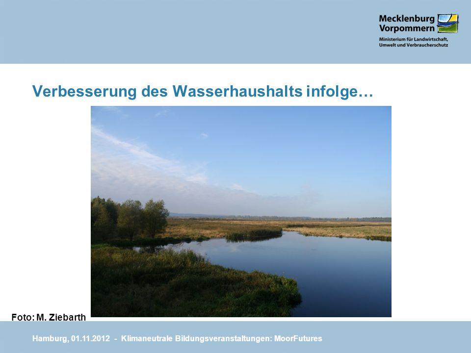 Verbesserung des Wasserhaushalts infolge… Hamburg, 01.11.2012 - Klimaneutrale Bildungsveranstaltungen: MoorFutures Foto: M. Ziebarth