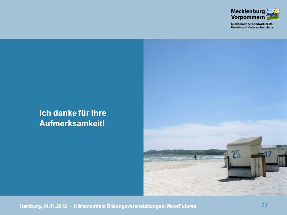 28 Ich danke für Ihre Aufmerksamkeit! Hamburg, 01.11.2012 - Klimaneutrale Bildungsveranstaltungen: MoorFutures