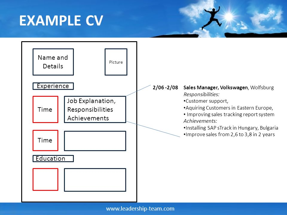 www.leadership-team.com EXAMPLE CV Name and Details Picture Experience Time Job Explanation, Responsibilities Achievements Time Education Sales Manager, Volkswagen, Wolfsburg Responsibilities: Customer support, Aquiring Customers in Eastern Europe, Improving sales tracking report system Achievements: Installing SAP sTrack in Hungary, Bulgaria Improve sales from 2,6 to 3,8 in 2 years 2/06 -2/08
