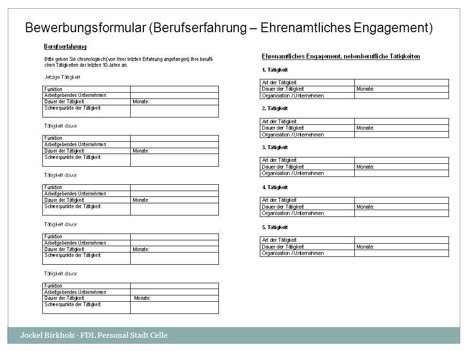 Bewerbungsformular (Berufserfahrung – Ehrenamtliches Engagement) Jockel Birkholz - FDL Personal Stadt Celle