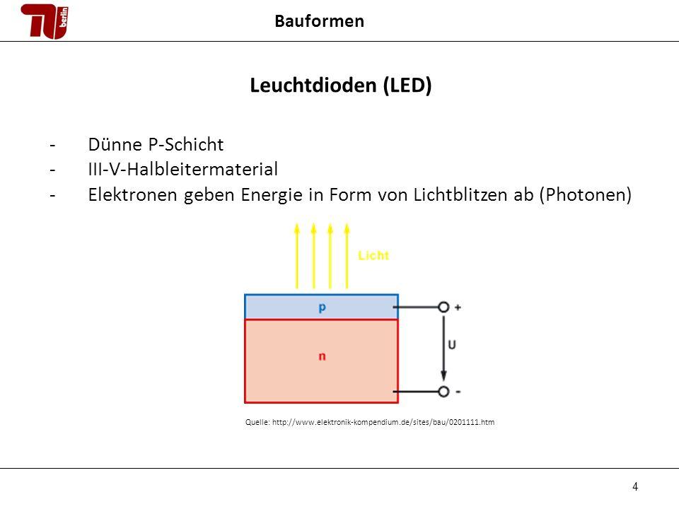 4 Bauformen Leuchtdioden (LED) -Dünne P-Schicht -III-V-Halbleitermaterial -Elektronen geben Energie in Form von Lichtblitzen ab (Photonen) Quelle: http://www.elektronik-kompendium.de/sites/bau/0201111.htm