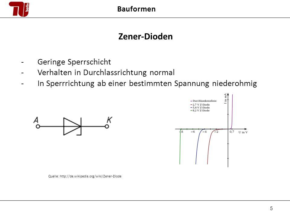 5 Bauformen Zener-Dioden -Geringe Sperrschicht -Verhalten in Durchlassrichtung normal -In Sperrrichtung ab einer bestimmten Spannung niederohmig Quelle: http://de.wikipedia.org/wiki/Zener-Diode