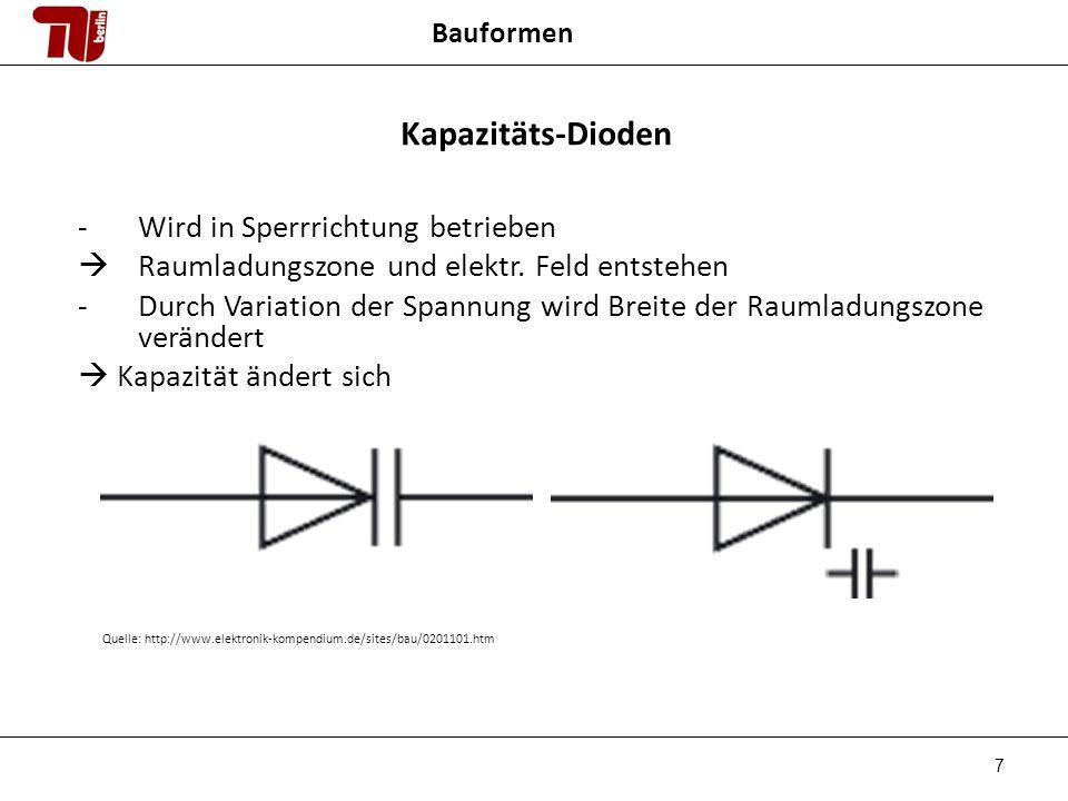 7 Bauformen Kapazitäts-Dioden -Wird in Sperrrichtung betrieben Raumladungszone und elektr.
