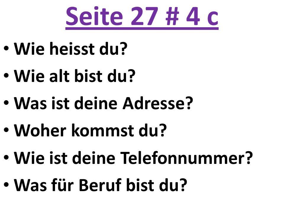Seite 27 # 4 c Wie heisst du? Wie alt bist du? Was ist deine Adresse? Woher kommst du? Wie ist deine Telefonnummer? Was für Beruf bist du?