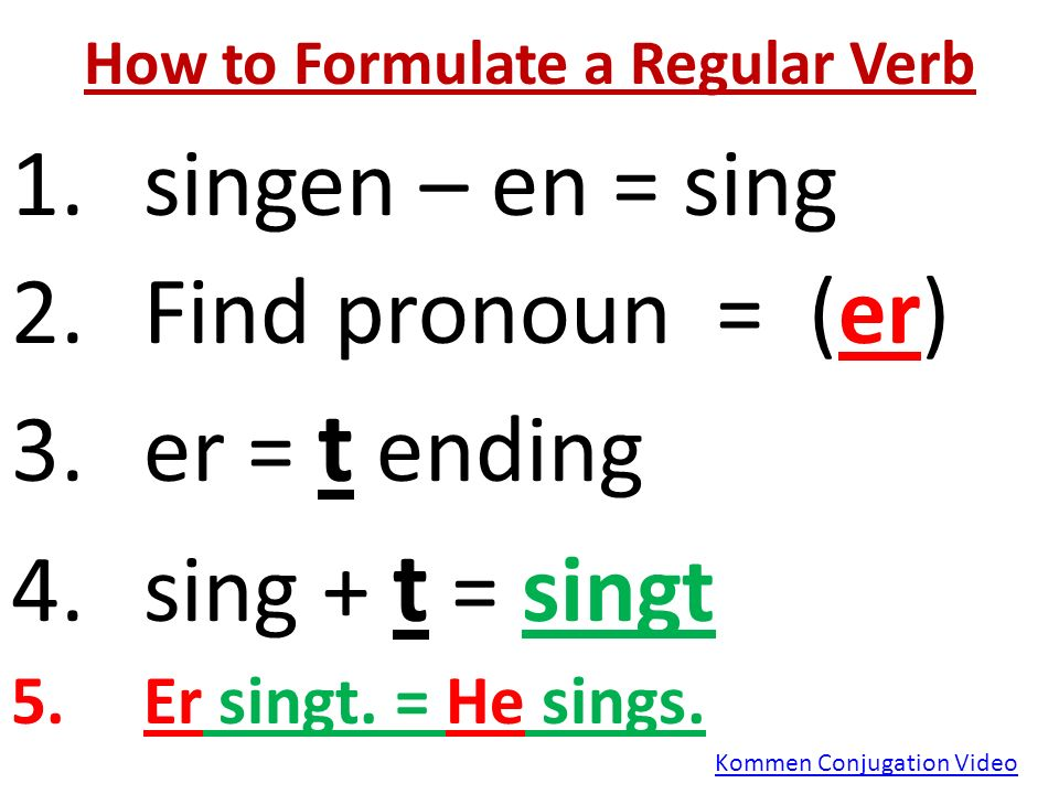 How to Formulate a Regular Verb 1.singen – en = sing 2.Find pronoun = (er) 3.er = t ending 4.sing + t = singt 5.Er singt. = He sings. Kommen Conjugati
