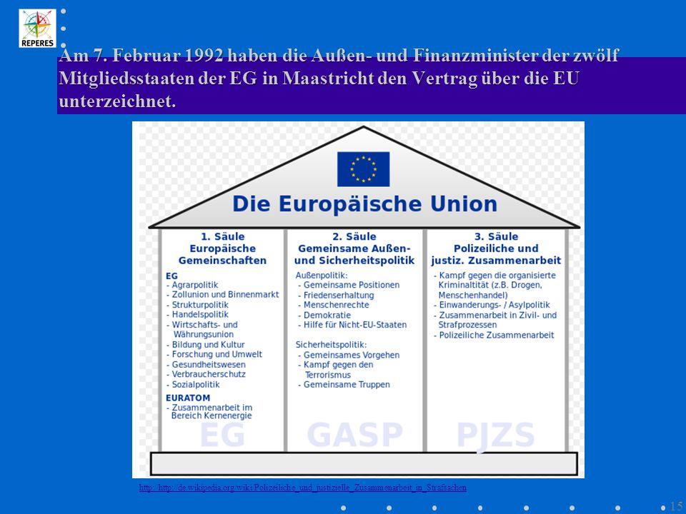 Am 7. Februar 1992 haben die Außen- und Finanzminister der zwölf Mitgliedsstaaten der EG in Maastricht den Vertrag über die EU unterzeichnet. http://h