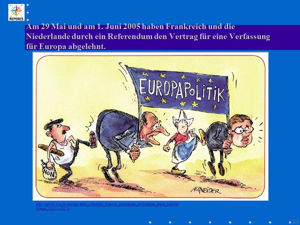 Am 29 Mai und am 1. Juni 2005 haben Frankreich und die Niederlande durch ein Referendum den Vertrag für eine Verfassung für Europa abgelehnt. http://s