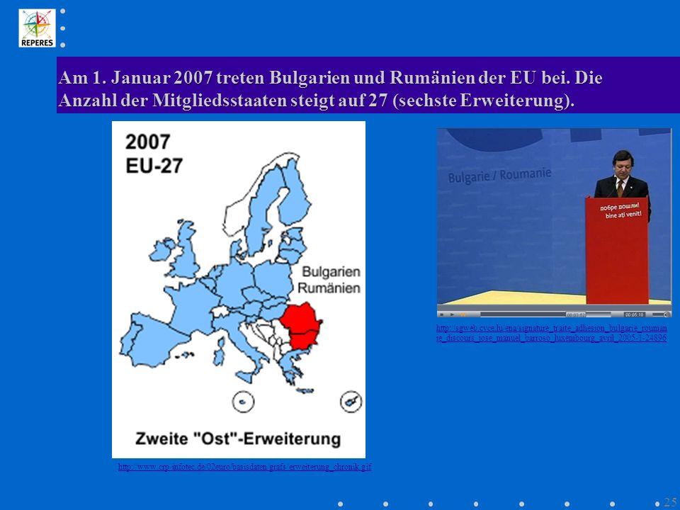 Am 1. Januar 2007 treten Bulgarien und Rumänien der EU bei. Die Anzahl der Mitgliedsstaaten steigt auf 27 (sechste Erweiterung). http://www.crp-infote