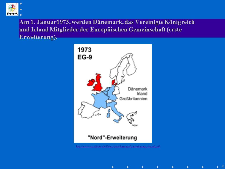 Am 1. Januar1973, werden Dänemark, das Vereinigte Königreich und Irland Mitglieder der Europäischen Gemeinschaft (erste Erweiterung). http://www.crp-i