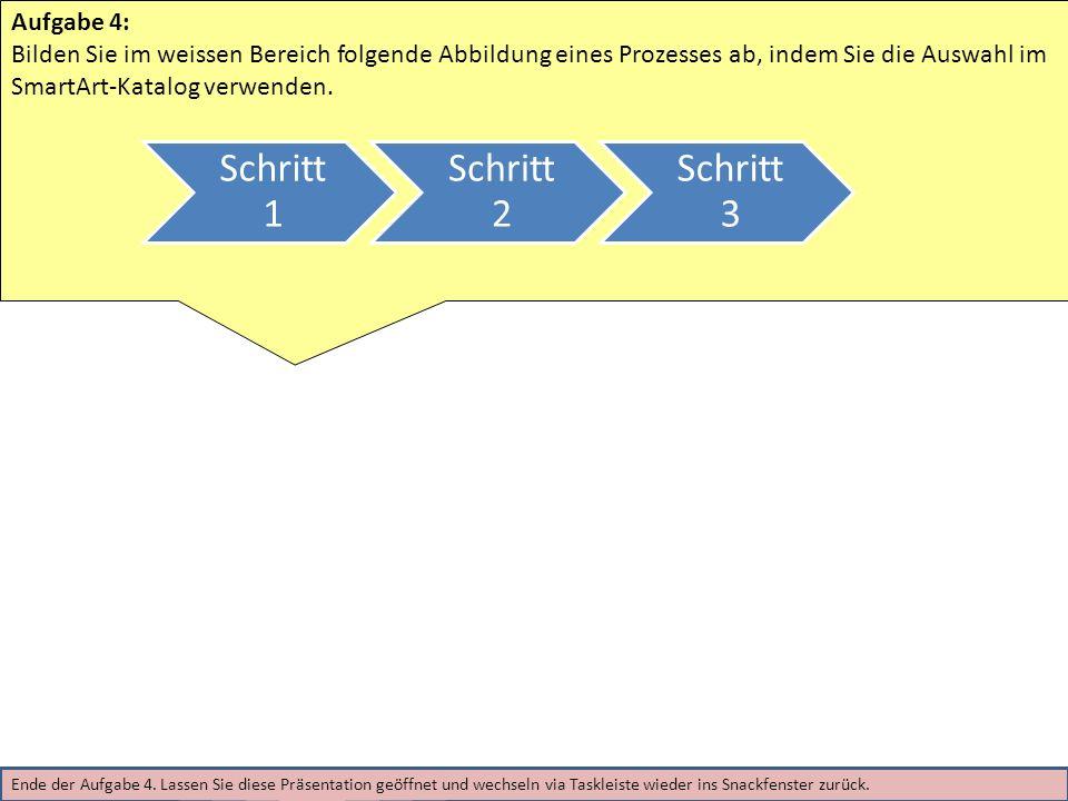 Aufgabe 4: Bilden Sie im weissen Bereich folgende Abbildung eines Prozesses ab, indem Sie die Auswahl im SmartArt-Katalog verwenden.