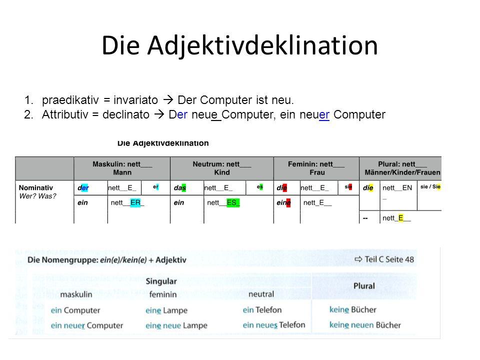 Die Adjektivdeklination 1.praedikativ = invariato Der Computer ist neu. 2.Attributiv = declinato Der neue Computer, ein neuer Computer