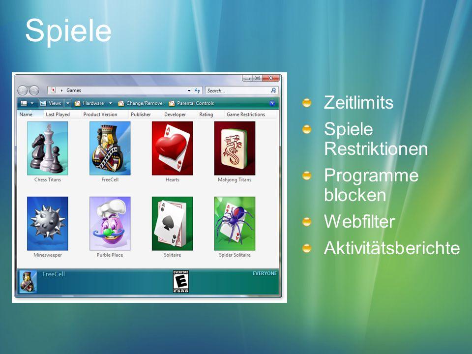 Spiele Zeitlimits Spiele Restriktionen Programme blocken Webfilter Aktivitätsberichte