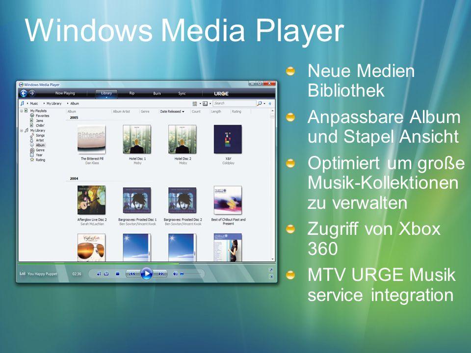 Windows Media Player Neue Medien Bibliothek Anpassbare Album und Stapel Ansicht Optimiert um große Musik-Kollektionen zu verwalten Zugriff von Xbox 36